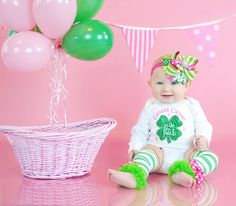 SALE-Baby Girl St. Patrick's Day Outfit -- Bling Clover Applique Onesi | betterthanbows - Clothing on ArtFire