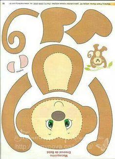 pattern for Felt Monkey Kids Crafts, Preschool Crafts, Felt Crafts, Paper Crafts, Monkey Template, Monkey Pattern, Felt Animal Patterns, Stuffed Animal Patterns, Monkey Crafts