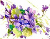 Violet Flowers, Original watercolor painting, 12 x 9 in, violets art Violets, Watercolor Paintings, The Originals, Flowers, Summer, Etsy, Art, Art Background, Summer Time