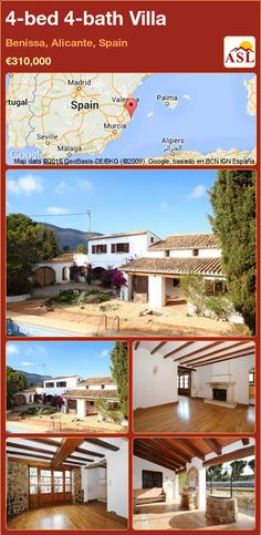 Villa for Sale in Benissa, Alicante, Spain with 4 bedrooms, 4 bathrooms - A Spanish Life Murcia, Wooden Gazebo, Dining Room Fireplace, Alicante Spain, Rural Area, Ceiling Beams, Terrace, Spanish, Villa