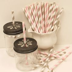 Cocktail+Paper+Straws+PASTEL+PINK+and+GREY+by+ThePartyFairy,+$4.75