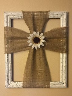White Frame Burlap Cross by ShabbyChicHutch on Etsy