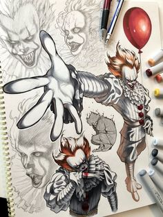 So here is something totally different from the stuff I'm usually drawing 😆💦 . A few days ago I finally watched the new and I… Horror Movie Characters, Horror Movies, Arte Horror, Horror Art, Scary Drawings, Horror Drawing, Pennywise The Dancing Clown, Creation Art, Scary Art