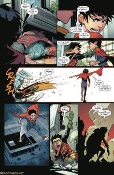 Super sons issue 2 Batman Y Superman, Batman Robin, Damian Wayne, Humor Batman, Cyberpunk, Dc Memes, Steampunk, Batman Family, Comic Panels