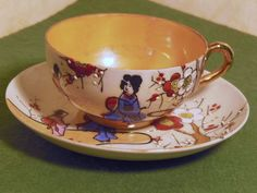 Japanese Vintage Hand Painted Eggshell Porcelain Tea cup and Saucer