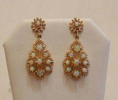 Vintage Opal 14k Solid Gold Earrings Chandelier Ebay