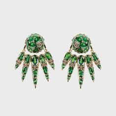 Yellow gold earrings with brown diamonds and tsavorites — Nikos Koulis Jewels
