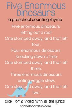 Five Enormous Dinosaurs Flannel Board Rhyme for Preschool Circle Time or Library Storytime