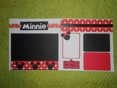 MINNIE MOUSE DISNEY Premade 12 x 12 scrapbook pages.  Two!  Disney World Disneyland Love for Minnie! by Gymboseller on Etsy