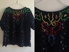 1980s Black Sequinned Blouse  Size X-Small  Large by HappyRedUK