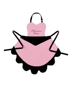 Take a look at this Pink & Black Linen-Blend Apron by C & F on #zulily today! $17.00 originally 37.00  Product Description:   Featuring a full-cover fit and linen-blend construction, this outspoken apron perfects as it protects.    •33' W X 35'' H •55% linen / 45% cotton •Machine wash •Imported