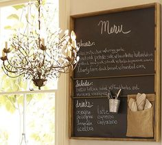 Bistro Kitchen Design Inspirations for Private Home : Pottery Barn Chalkboard Decorations Kitchen Chalkboard, Chalkboard Decor, Chalkboard Walls, Blackboard Menu, Chalkboard Wallpaper, Chalk Menu, Large Chalkboard, Magnetic Chalkboard, Chalkboard Drawings