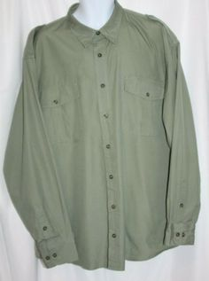 b57097fc3c632 Cabelas Safari Series Mens Button Down Shirt Size 2XL Green Long Sleeve  Outdoors #Cabelas #