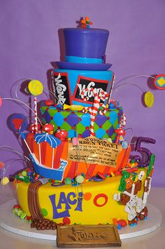 Laci's 5th Birthday Cake - Willy Wonka  Lots of Wonka party ideas here!  from: itssewstinkincute.blogspot.com