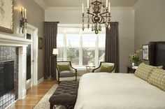 Similar colors are Perfect Greige 6073 (left wall), Heron Plume 6070 (other walls) and Popular Gray 6071 (ceiling) all by Sherwin Williams.""