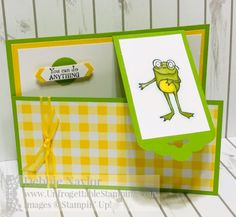Discover Ink - Ann Gerlach Independent Stampin' Up!I love the happy little frogs in the Sale-a-bration So Hoppy Together stamp set, but they need to move and hop! Fun Fold Cards, 3d Cards, Folded Cards, Cool Cards, Gift Card Boxes, Step Cards, Interactive Cards, Making Greeting Cards, Quilling Cards