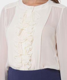 Luisa Spagnoli blusa in georgette di seta Lauretta panna Blazer Shirt 09efdde376f