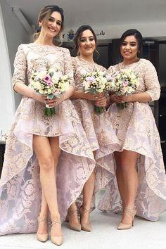 chic hi-low bridesmaid dresses, lavender party dresses, cheap hi-low bridesmaid dresses with appliques, vestidos