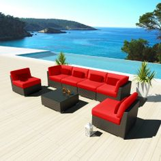 Uduka Outdoor Sectional Patio Furniture Espresso Brown Wicker Sofa Set Daly 7 Red All Weather Couch Uduka, To BUY or SEE just CLICK on AMAZON right here http://www.amazon.com/dp/B00J5A9926/ref=cm_sw_r_pi_dp_KPGrtb0R6JZG2HHJ