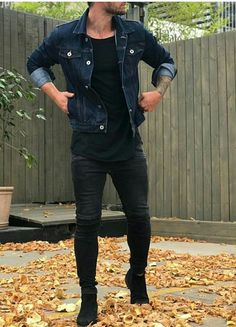 Fall double denim dark wash denim jacket black t-shirt black skinny jeans black chelsea boots sunglasses. Stylish Mens Outfits, Casual Outfits, Men Casual, Fashion Outfits, Casual Styles, Fashion Ideas, Casual Dresses, Smart Casual, Mode Man