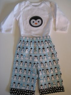 Penguin Applique Outfit  Baby Boy or Toddler by adorableblessings, $25.00