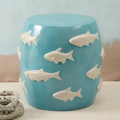 Coastal Living Decor, Pale Blue Fishes Stool, so beautiful,  one of over 3,000 limited production interior design inspirations inc, furniture, lighting, mirrors, home accents, accessories, decor and gift ideas to enjoy repin and share at InStyle Decor Beverly Hills Hollywood Luxury Home Decor enjoy & happy pinning