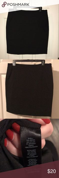 WHBM Slimming Black Pencil Skirt WHBM Black Slimming Pencil Skirt with horizontal stitched pattern (didn't show up well in pictures). 19 inches long. White House Black Market Skirts Pencil