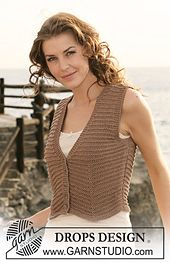 "Ravelry: 118-39 Short waistcoat in ""Safran"" and ""Cotton Viscose"" pattern by DROPS design"