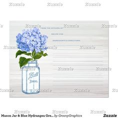 Mason Jar & Blue Hydrangea Grey Recipe Card