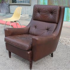 Wonderful Brown Leather Danish Lounge Chair   From a unique collection of antique and modern lounge chairs at https://www.1stdibs.com/furniture/seating/lounge-chairs/