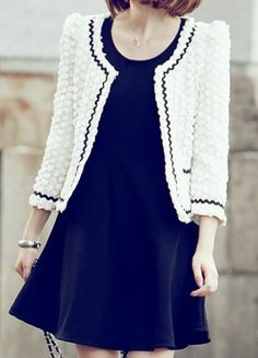 White Long Sleeve Polka Dot Embellished Crop Coat