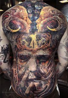 3d Tattoos For Men, Mens Body Tattoos, Back Tattoos For Guys, Full Back Tattoos, Full Body Tattoo, Modern Tattoos, Black Ink Tattoos, Body Art Tattoos, Back Tattoo Men