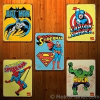 #Marvel #DC Comics Super Heroes Tin Sign  http://www.retroplanet.com/PROD/27810