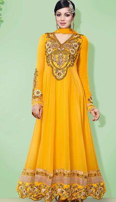 Latest Designer Yellow Georgette Churidar Kameez Anarkali Dresses, Dress