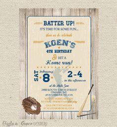 Vintage Baseball Birthday Invitation