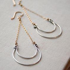 Mixed Wave Earrings-  sterling silver, goldfill.  #earrings #handmade #amyolsonjewelry