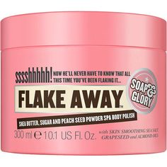 Soap & Glory Flake Away Shea Butter, Sugar and Peach Seed Powder Spa... ($15) ❤ liked on Polyvore featuring beauty products, bath & body products, body moisturizers, beauty, makeup, fillers and items