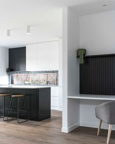 Sleek lines, black timber panelling and hints of greenery. So much to love about this kitchen and study nook from and… Residential Building Design, Timber Panelling, Study Nook, Black Kitchens, Big Houses, Interior Design, Contours, Furniture, Kitchen Inspiration