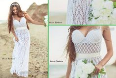 Schemes of knitting needles and crochet dresses Crochet Wedding Dresses, Wedding Dress Patterns, Crochet Dresses, Blouse Dress, Knit Dress, Crochet Bikini, Knit Crochet, Crochet Clothes, Two Piece Skirt Set