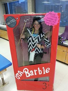 Occupational Therapy Assistant Barbie <3 This took us 6 hours to make;) Shout out to h.h. gregg for the refrigerator box and Target for all of the wrapping paper to cover it;)