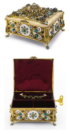 A HUNGARIAN SILVER-GILT, ENAMEL AND GEM-SET MUSICAL JEWELRY BOX, EARLY 20TH CENTURY, rectangular, raised on four scroll feet, applied with shaped enameled panels and flowerheads, set with openwork bosses mounted with jewels, all on matted and chased foliate ground, compartmented interior with music section applied with enamel flower spray, has key apparently unmarked, length 7 1/2 in. 19cm