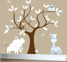 Children's jungle decal set, tree wall decal, jungle animal wall decals. $129.00, via Etsy.