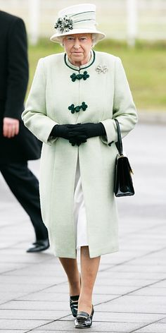 The Queen loves her pastels! She chose an all mint look for a visit to the Palm Paper mill in February 2011.