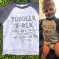 Toddler T-REX Raglan or Tee – funny kids Funny Kids Shirts, Baby Shirts, Mom Shirts, Cute Shirts, Toddler T Shirts, Toddler Boys, Diy Kids Shirts, Onesies, Baby Kids