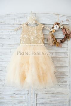 Gold Lace Champagne Ruffle Tulle Wedding Flower Girl Dress with Pearl Belt SKU: Buy Now: Flower Girl Gown, Purple Bridesmaid Dresses, Wedding Flower Girl Dresses, Tulle Wedding, Flower Girls, Flower Girl Dresses Country, Dream Wedding, Girls Pageant Dresses, Gowns For Girls