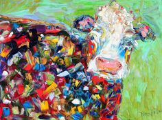 Original Abstract Cow palette knife painting in oil by Karensfineart