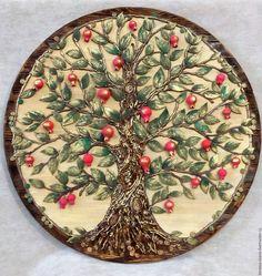 Купить Гранатовое дерево-символ вечной жизни - ярко-красный, дерево, гранат, гранаты природные