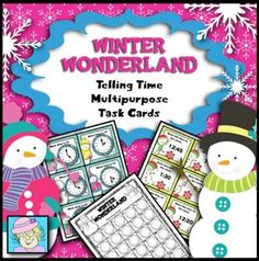 What a fun way to practice telling time! This set comes with 4 sets of 30 cards each. These versatile cards can be used 3 ways. They can be used as task cards or a game of Scoot. You can also add in the melting snowman cards and directions to make an engaging card game. $