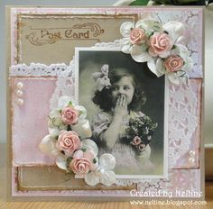 Pink Pastel Vintage Look...lace, old thyme photo, &...roses.