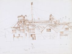 Susan Dorothea White Rank Kirby Furniture Factory and Whites Creek Canal, 1984 pen and spittal x 50 cm Furniture Factory, Drawings, Artist, Artists, Sketches, Drawing, Portrait, Draw, Grimm
